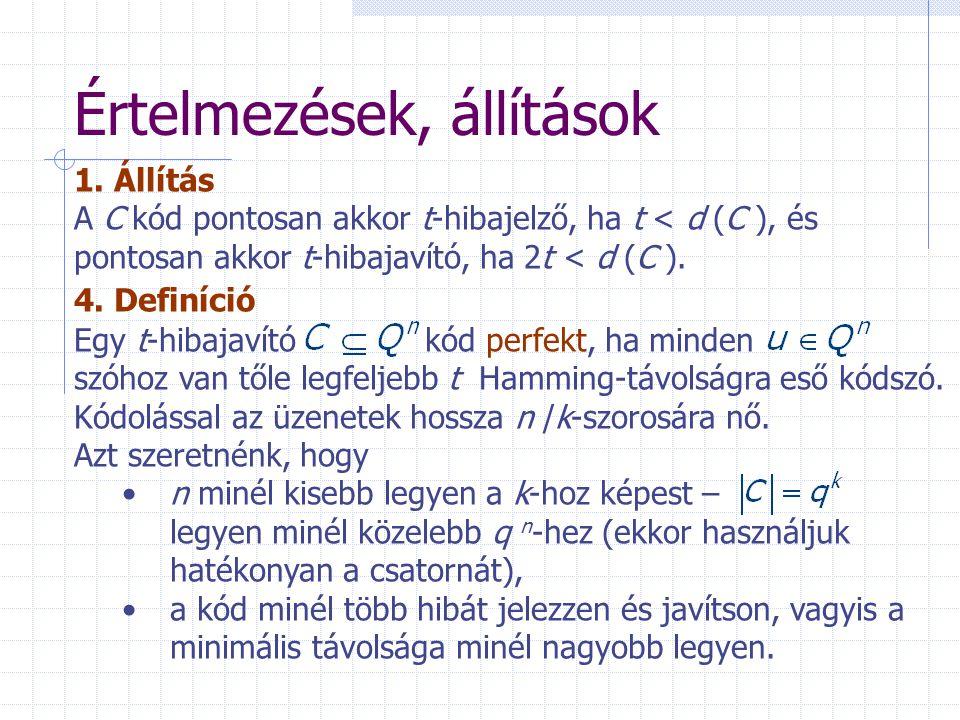 Értelmezések, állítások 1. Állítás A C kód pontosan akkor t-hibajelző, ha t < d (C ), és pontosan akkor t-hibajavító, ha 2t < d (C ). 4. Definíció Egy