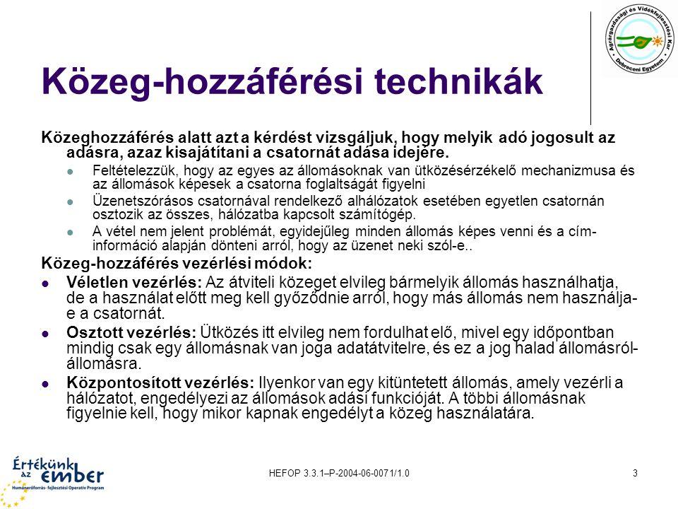 HEFOP 3.3.1–P-2004-06-0071/1.03 Közeg-hozzáférési technikák Közeghozzáférés alatt azt a kérdést vizsgáljuk, hogy melyik adó jogosult az adásra, azaz kisajátítani a csatornát adása idejére.