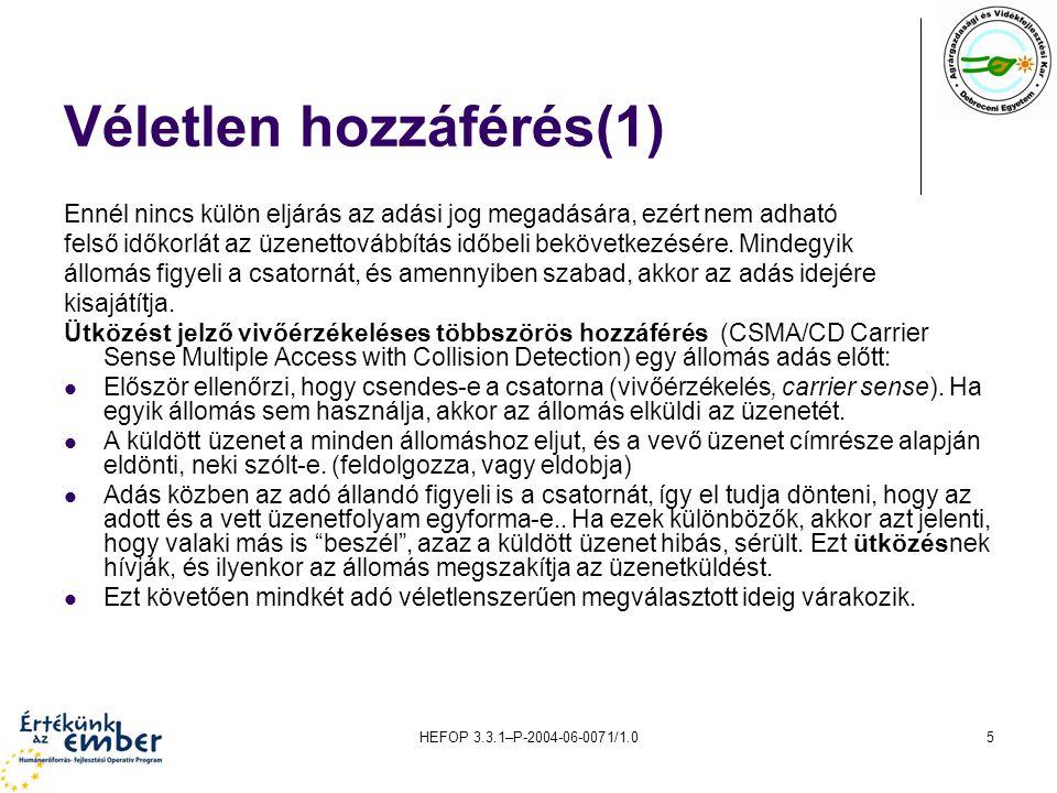 HEFOP 3.3.1–P-2004-06-0071/1.06 Véletlen hozzáférés(2) Az várakozási idők a véletlenszerűség miatt eltérők, így a versengő állomások közül a legrövidebb várakozási idejű fog adni, mivel a többiek a várakozási idejük leteltével adás előtt a csatornába belehallgatva azt már foglaltnak fogják érzékelni.