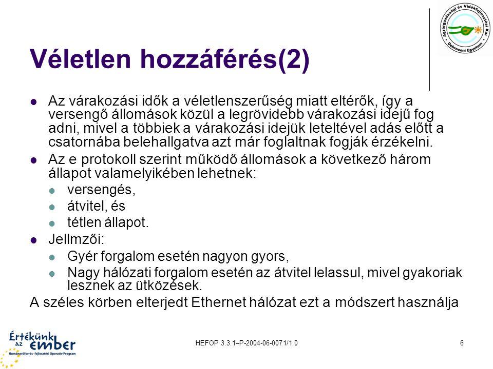 HEFOP 3.3.1–P-2004-06-0071/1.017 A lekérdezéses közeghozzáférés vezérlés működése
