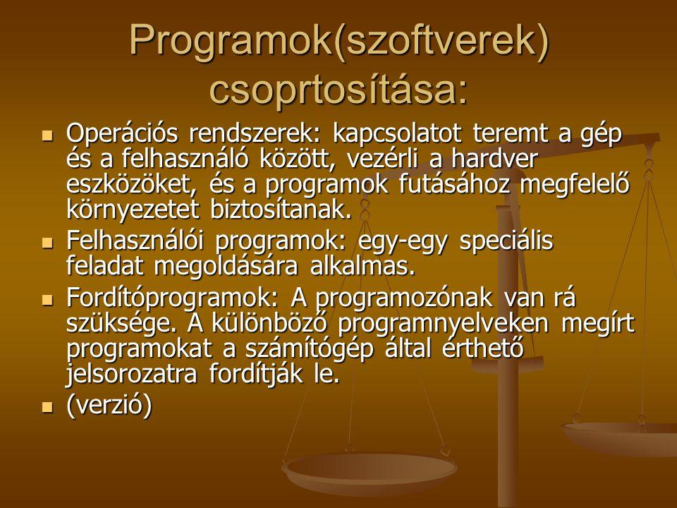 Programok(szoftverek) csoprtosítása: Operációs rendszerek: kapcsolatot teremt a gép és a felhasználó között, vezérli a hardver eszközöket, és a progra