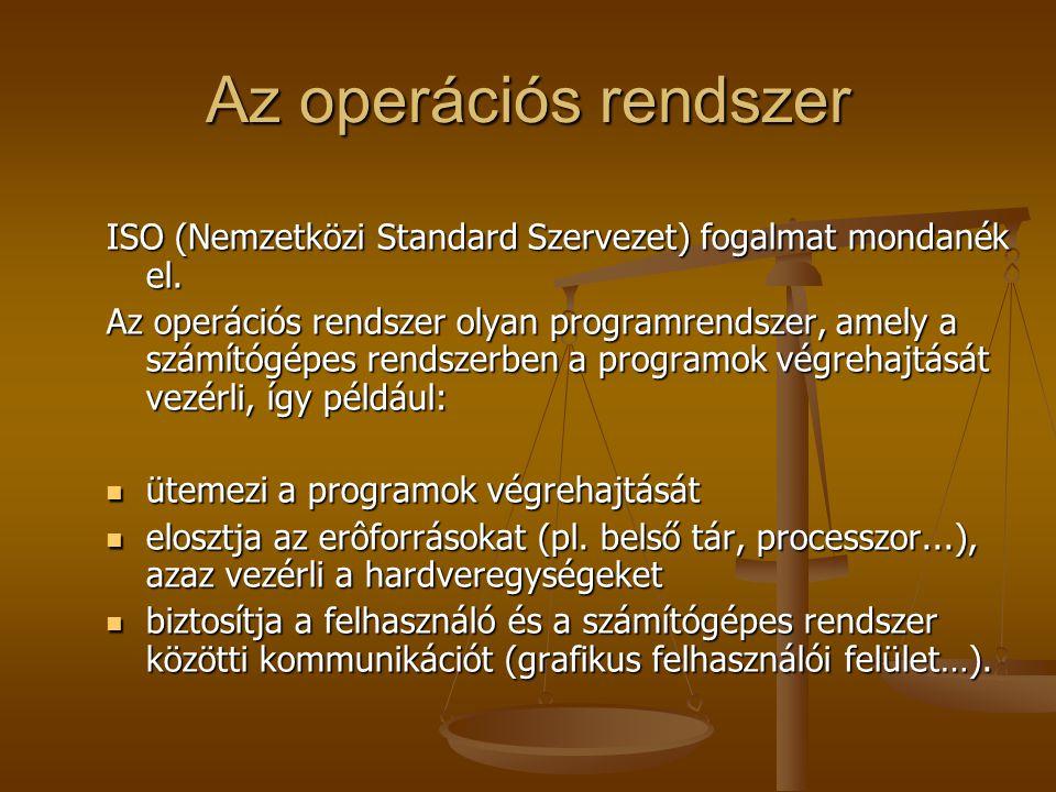 Az operációs rendszer ISO (Nemzetközi Standard Szervezet) fogalmat mondanék el. Az operációs rendszer olyan programrendszer, amely a számítógépes rend