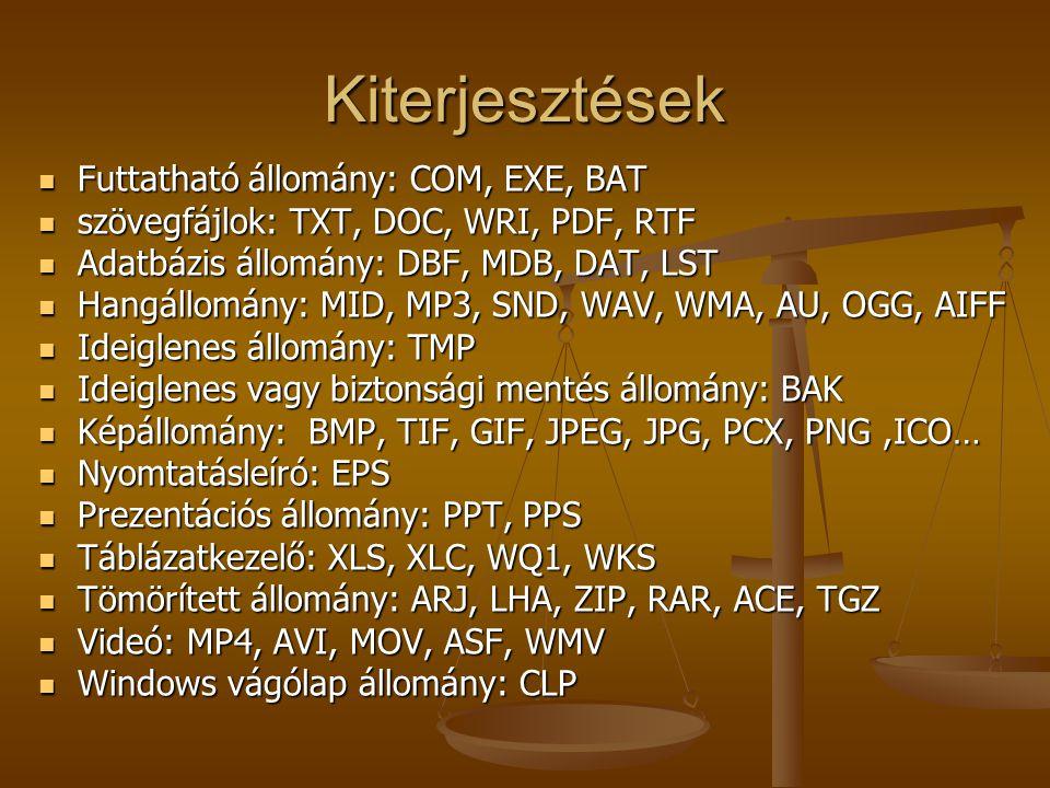 Kiterjesztések Futtatható állomány: COM, EXE, BAT Futtatható állomány: COM, EXE, BAT szövegfájlok: TXT, DOC, WRI, PDF, RTF szövegfájlok: TXT, DOC, WRI