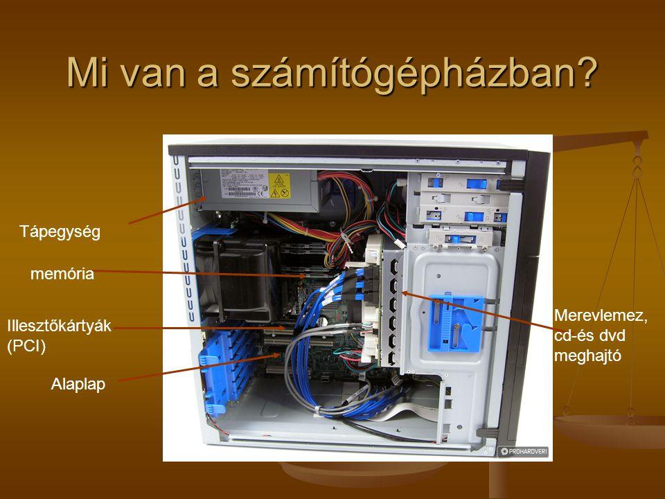 Mi van a számítógépházban? Tápegység Illesztőkártyák (PCI) Alaplap Merevlemez, cd-és dvd meghajtó memória
