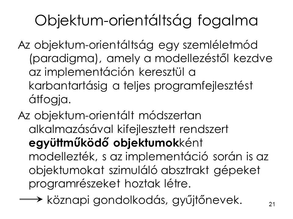 21 Objektum-orientáltság fogalma Az objektum-orientáltság egy szemléletmód (paradigma), amely a modellezéstől kezdve az implementáción keresztül a kar