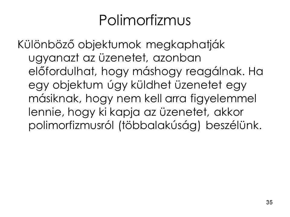 35 Polimorfizmus Különböző objektumok megkaphatják ugyanazt az üzenetet, azonban előfordulhat, hogy máshogy reagálnak. Ha egy objektum úgy küldhet üze