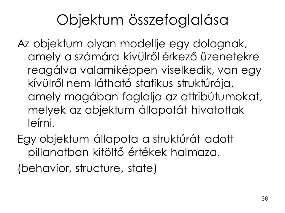 36 Objektum összefoglalása Az objektum olyan modellje egy dolognak, amely a számára kívülről érkező üzenetekre reagálva valamiképpen viselkedik, van egy kívülről nem látható statikus struktúrája, amely magában foglalja az attribútumokat, melyek az objektum állapotát hivatottak leírni.