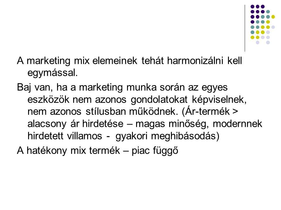 A marketing mix elemeinek tehát harmonizálni kell egymással. Baj van, ha a marketing munka során az egyes eszközök nem azonos gondolatokat képviselnek