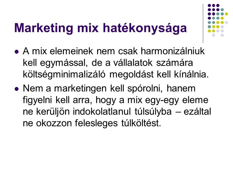 Marketing mix hatékonysága A mix elemeinek nem csak harmonizálniuk kell egymással, de a vállalatok számára költségminimalizáló megoldást kell kínálnia