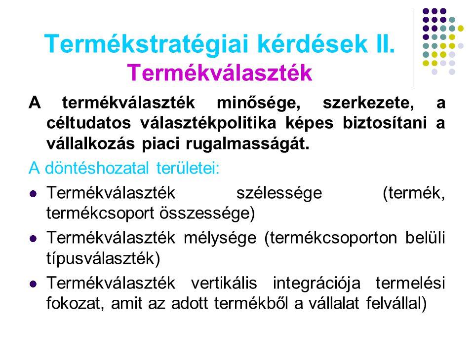 Termékstratégiai kérdések II. Termékválaszték A termékválaszték minősége, szerkezete, a céltudatos választékpolitika képes biztosítani a vállalkozás p