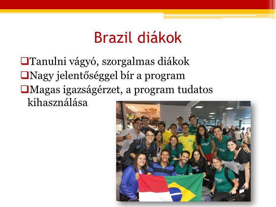 Brazil diákok  Tanulni vágyó, szorgalmas diákok  Nagy jelentőséggel bír a program  Magas igazságérzet, a program tudatos kihasználása