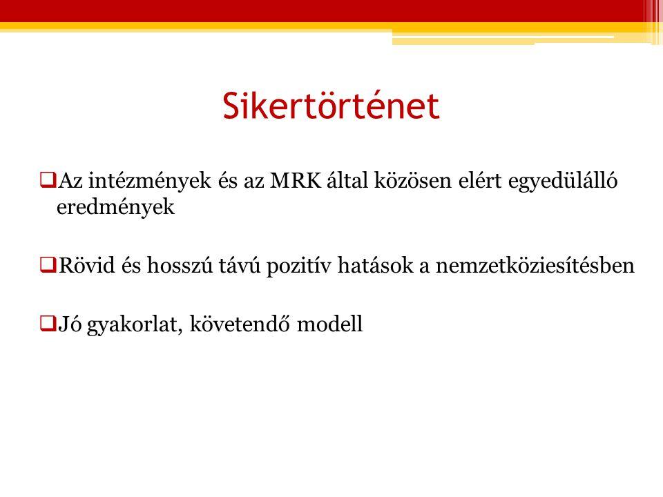 Sikertörténet  Az intézmények és az MRK által közösen elért egyedülálló eredmények  Rövid és hosszú távú pozitív hatások a nemzetköziesítésben  Jó gyakorlat, követendő modell