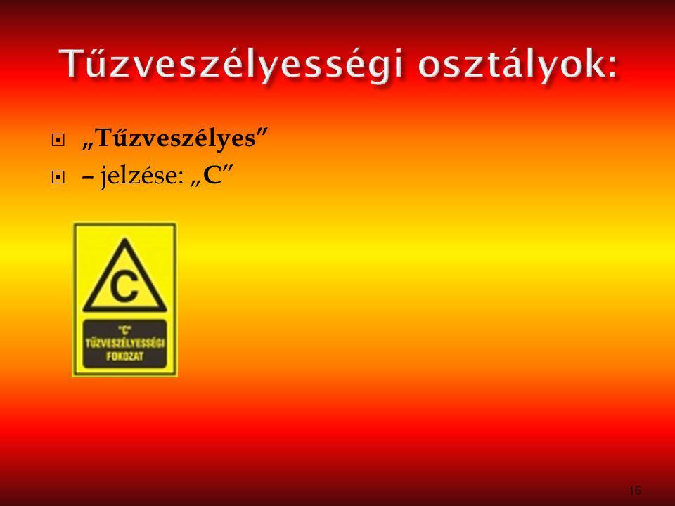 """ """"Mérsékelten tűzveszélyes  – jelzése: """" D 17"""
