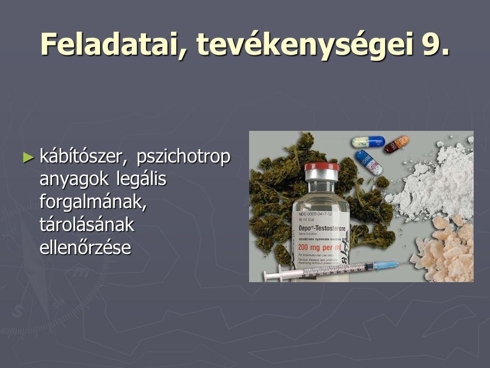 Feladatai, tevékenységei 9. ► kábítószer, pszichotrop anyagok legális forgalmának, tárolásának ellenőrzése