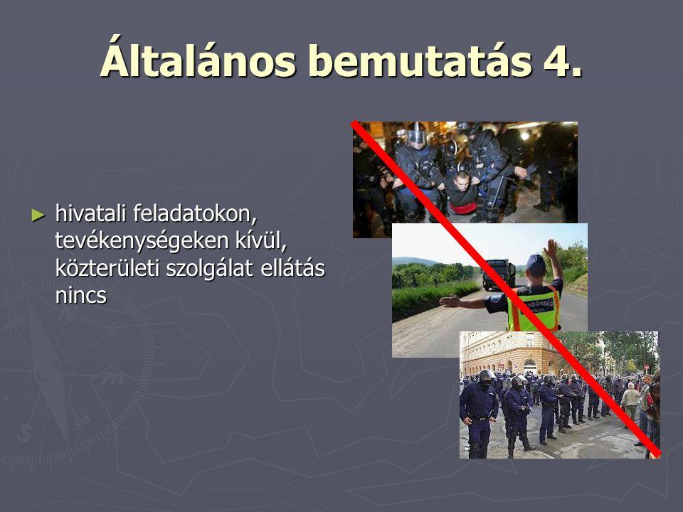 Általános bemutatás 4. ► hivatali feladatokon, tevékenységeken kívül, közterületi szolgálat ellátás nincs