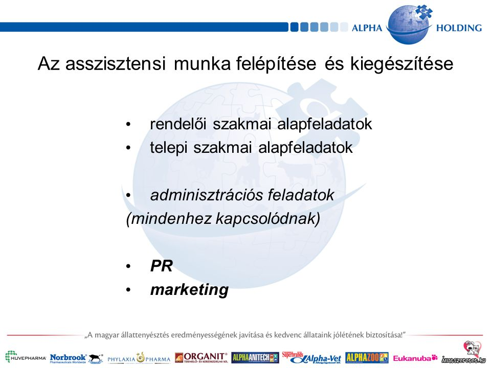 Az asszisztensi munka felépítése és kiegészítése rendelői szakmai alapfeladatok telepi szakmai alapfeladatok adminisztrációs feladatok (mindenhez kapcsolódnak) PR marketing