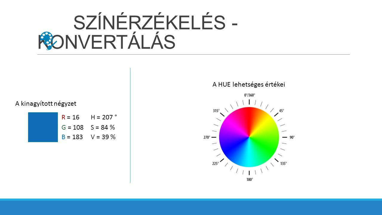 SZÍNÉRZÉKELÉS - KONVERTÁLÁS A kinagyított négyzet R = 16 G = 108 B = 183 H = 207 ° S = 84 % V = 39 % A HUE lehetséges értékei