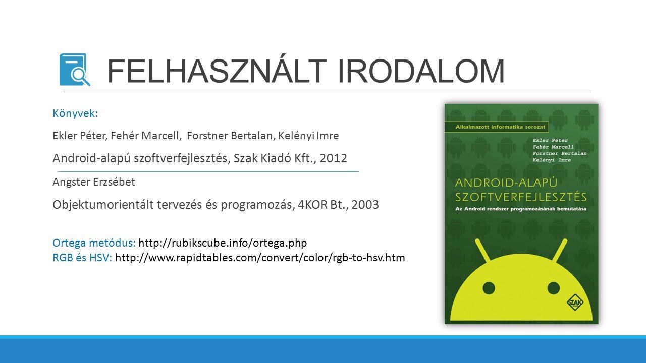 FELHASZNÁLT IRODALOM Ekler Péter, Fehér Marcell, Forstner Bertalan, Kelényi Imre Android-alapú szoftverfejlesztés, Szak Kiadó Kft., 2012 Angster Erzsé