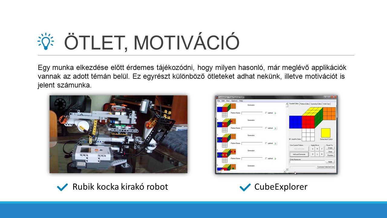 ÖTLET, MOTIVÁCIÓ Rubik kocka kirakó robotCubeExplorer Egy munka elkezdése előtt érdemes tájékozódni, hogy milyen hasonló, már meglévő applikációk vann