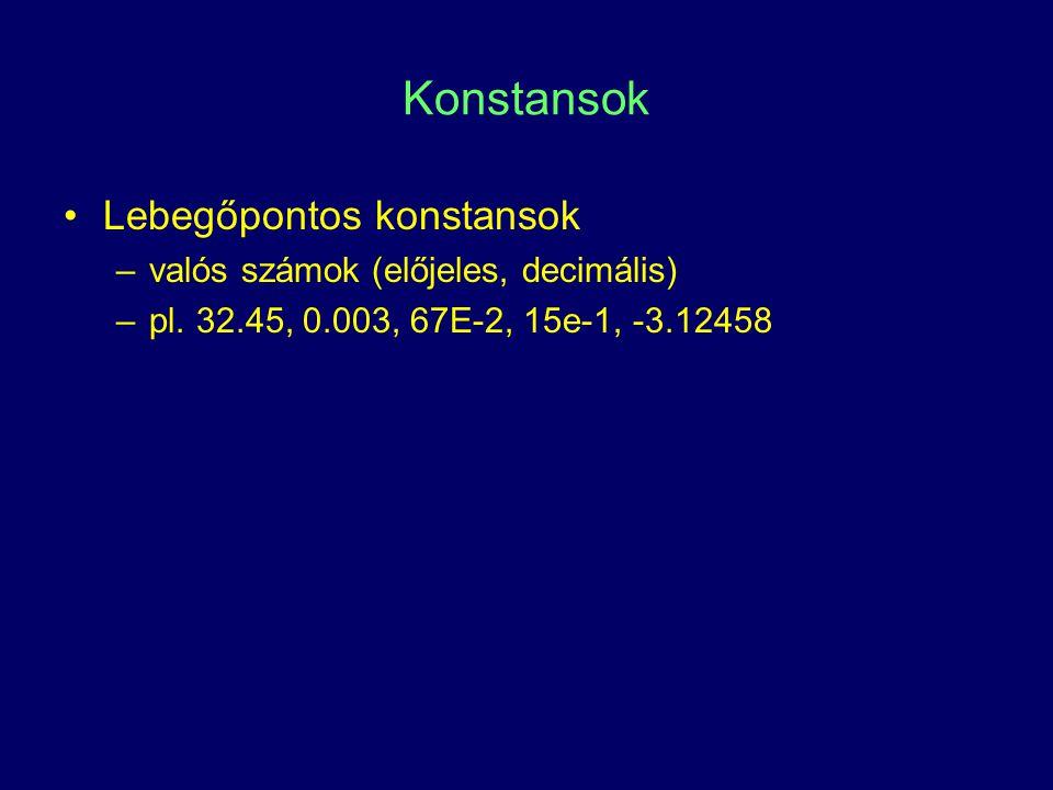 Konstansok Lebegőpontos konstansok –valós számok (előjeles, decimális) –pl. 32.45, 0.003, 67E-2, 15e-1, -3.12458