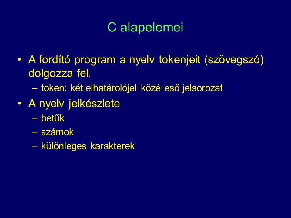 C alapelemei A fordító program a nyelv tokenjeit (szövegszó) dolgozza fel. –token: két elhatárolójel közé eső jelsorozat A nyelv jelkészlete –betűk –s