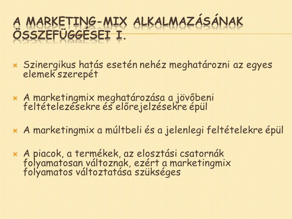  Szinergikus hatás esetén nehéz meghatározni az egyes elemek szerepét  A marketingmix meghatározása a jövőbeni feltételezésekre és előrejelzésekre épül  A marketingmix a múltbeli és a jelenlegi feltételekre épül  A piacok, a termékek, az elosztási csatornák folyamatosan változnak, ezért a marketingmix folyamatos változtatása szükséges