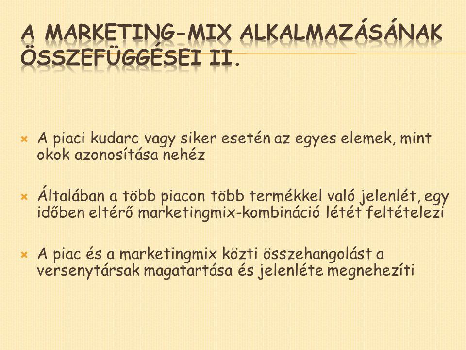  A piaci kudarc vagy siker esetén az egyes elemek, mint okok azonosítása nehéz  Általában a több piacon több termékkel való jelenlét, egy időben eltérő marketingmix-kombináció létét feltételezi  A piac és a marketingmix közti összehangolást a versenytársak magatartása és jelenléte megnehezíti
