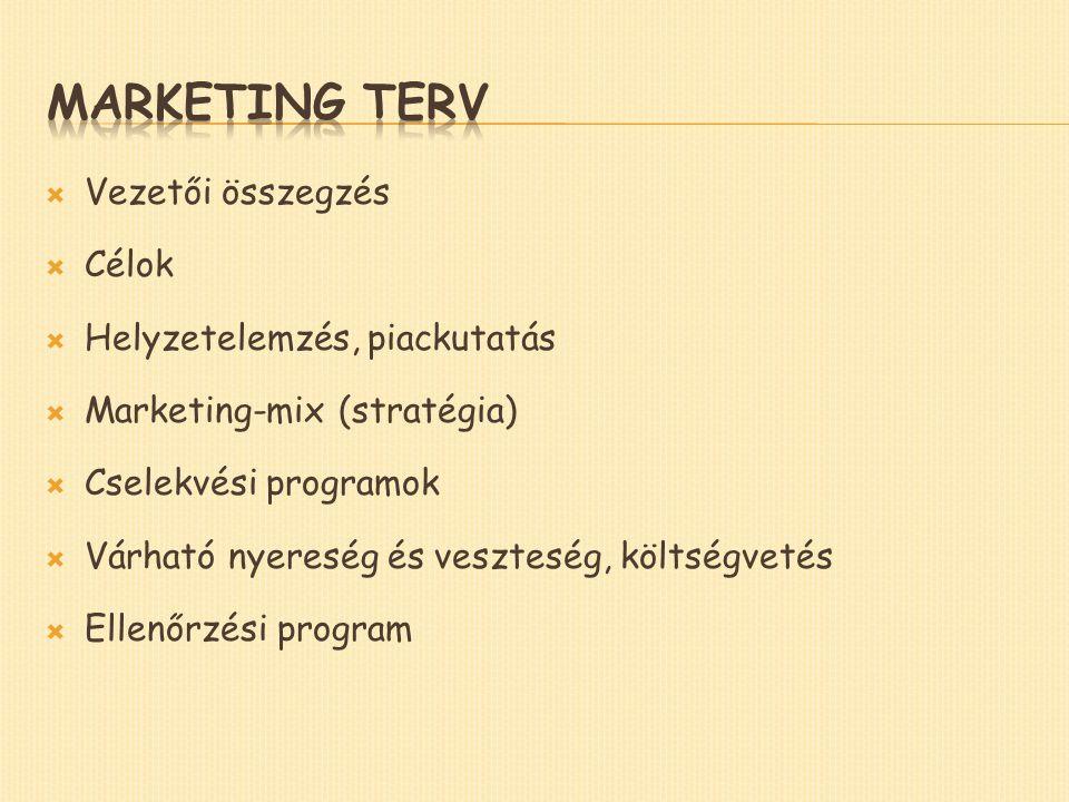  Vezetői összegzés  Célok  Helyzetelemzés, piackutatás  Marketing-mix (stratégia)  Cselekvési programok  Várható nyereség és veszteség, költségvetés  Ellenőrzési program