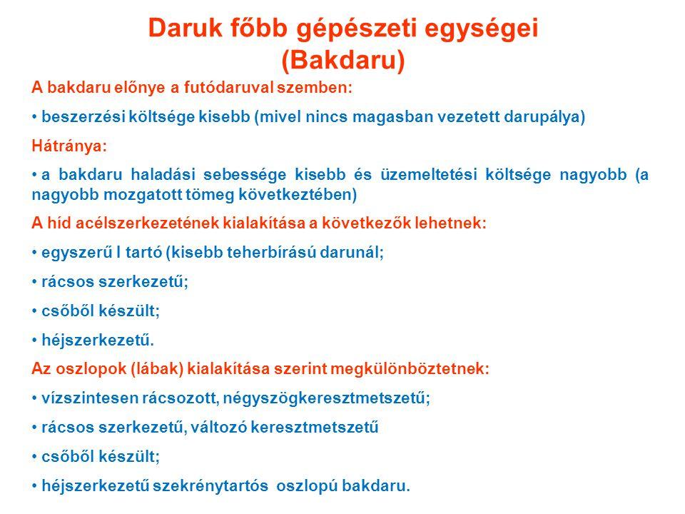 Daruk főbb gépészeti egységei (Bakdaru) A bakdaru előnye a futódaruval szemben: beszerzési költsége kisebb (mivel nincs magasban vezetett darupálya) H