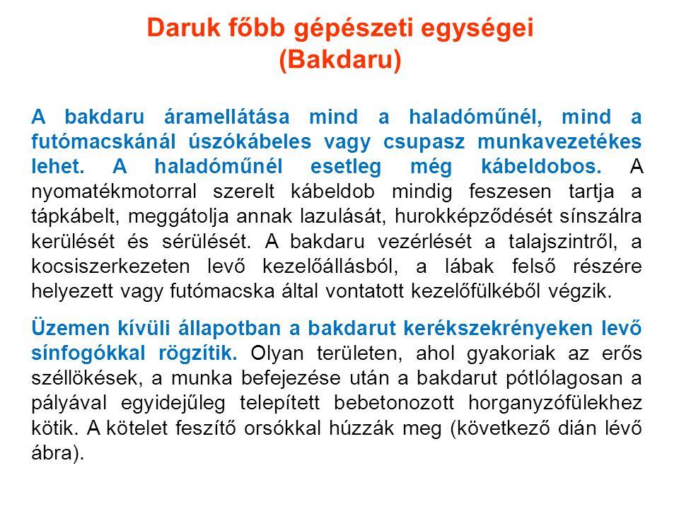 Daruk főbb gépészeti egységei (Bakdaru) A bakdaru áramellátása mind a haladóműnél, mind a futómacskánál úszókábeles vagy csupasz munkavezetékes lehet.