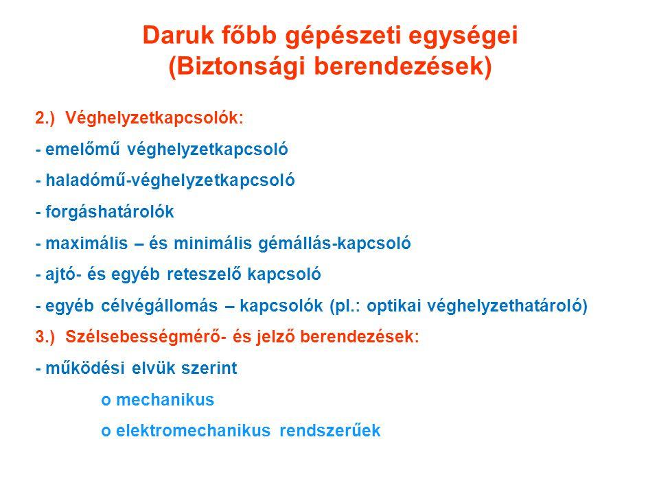 Daruk főbb gépészeti egységei (Biztonsági berendezések) 2.) Véghelyzetkapcsolók: - emelőmű véghelyzetkapcsoló - haladómű-véghelyzetkapcsoló - forgásha