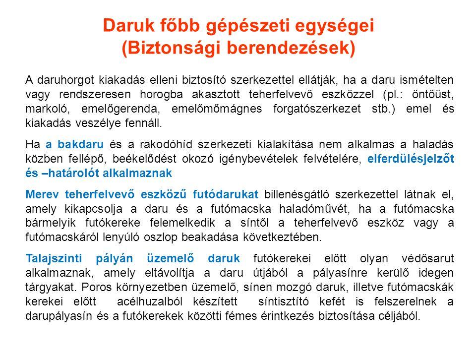 Daruk főbb gépészeti egységei (Biztonsági berendezések) A daruhorgot kiakadás elleni biztosító szerkezettel ellátják, ha a daru ismételten vagy rendsz