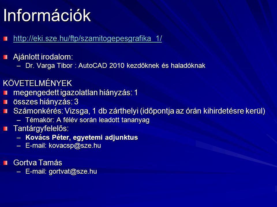 Információk http://eki.sze.hu/ftp/szamitogepesgrafika_1/ Ajánlott irodalom: –Dr. Varga Tibor : AutoCAD 2010 kezdőknek és haladóknak KÖVETELMÉNYEK mege