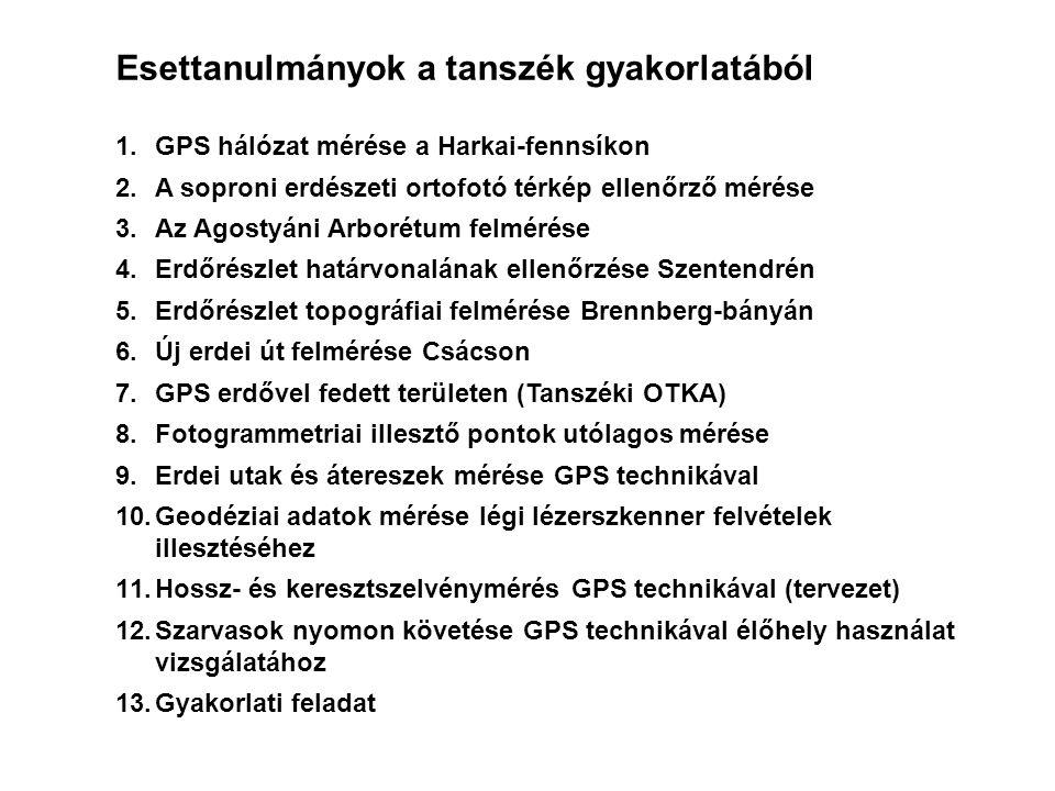 Esettanulmányok a tanszék gyakorlatából 1.GPS hálózat mérése a Harkai-fennsíkon 2.A soproni erdészeti ortofotó térkép ellenőrző mérése 3.Az Agostyáni Arborétum felmérése 4.Erdőrészlet határvonalának ellenőrzése Szentendrén 5.Erdőrészlet topográfiai felmérése Brennberg-bányán 6.Új erdei út felmérése Csácson 7.GPS erdővel fedett területen (Tanszéki OTKA) 8.Fotogrammetriai illesztő pontok utólagos mérése 9.Erdei utak és átereszek mérése GPS technikával 10.Geodéziai adatok mérése légi lézerszkenner felvételek illesztéséhez 11.Hossz- és keresztszelvénymérés GPS technikával (tervezet) 12.Szarvasok nyomon követése GPS technikával élőhely használat vizsgálatához 13.Gyakorlati feladat