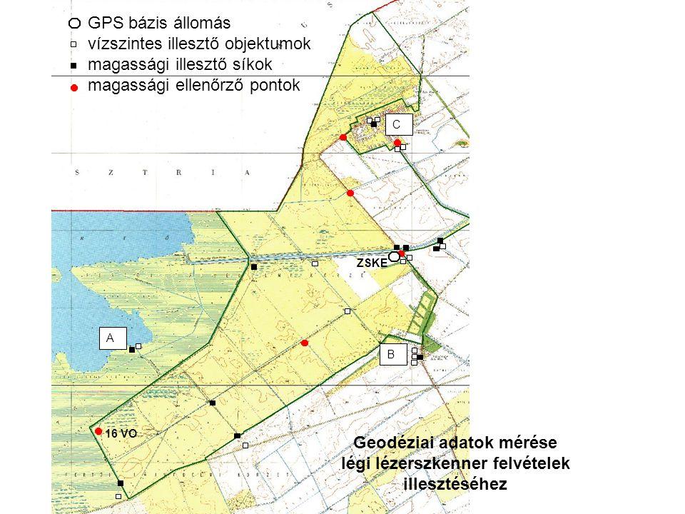 16 VO ZSKE GPS bázis állomás vízszintes illesztő objektumok magassági illesztő síkok magassági ellenőrző pontok A B C Geodéziai adatok mérése légi lézerszkenner felvételek illesztéséhez