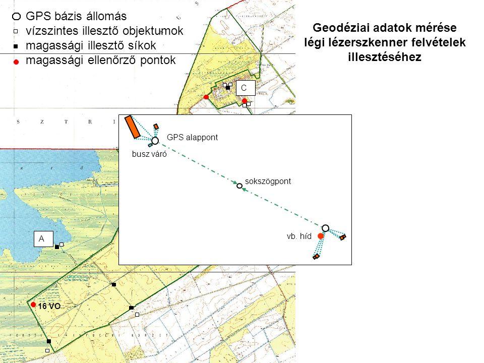 16 VO ZSKE GPS bázis állomás vízszintes illesztő objektumok magassági illesztő síkok magassági ellenőrző pontok A B C sokszögpont busz váró vb.