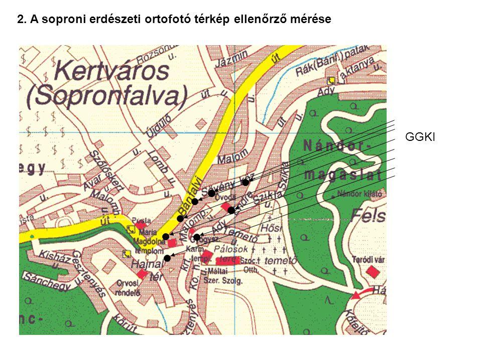 2. A soproni erdészeti ortofotó térkép ellenőrző mérése GGKI