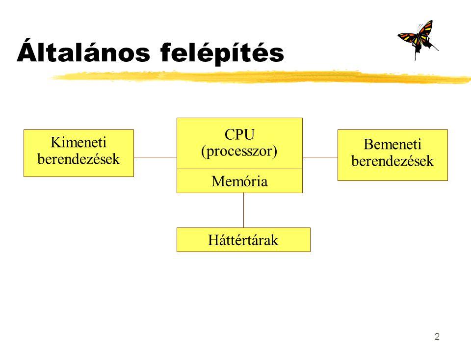 2 Általános felépítés CPU (processzor) Memória Háttértárak Kimeneti berendezések Bemeneti berendezések