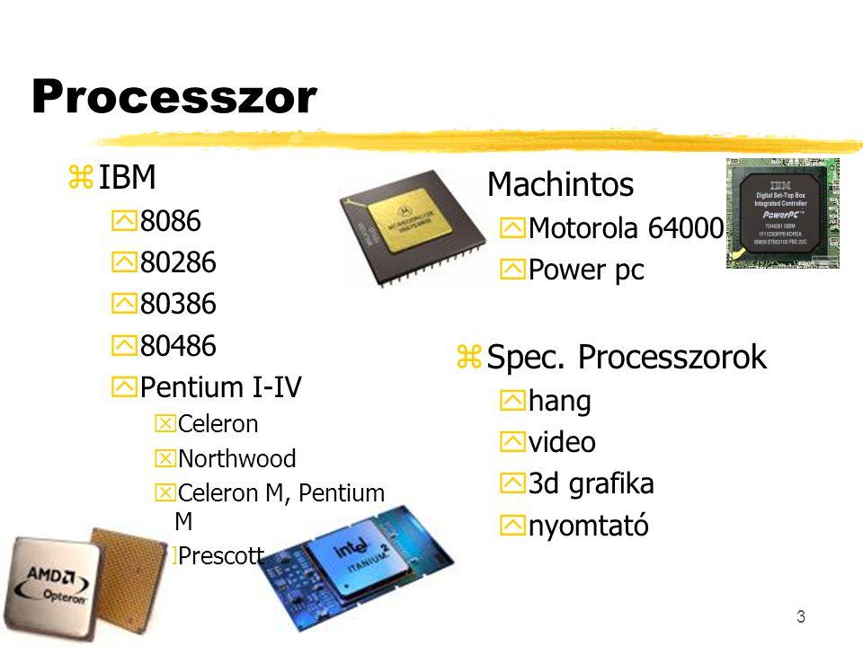 3 Processzor zIBM y8086 y80286 y80386 y80486 yPentium I-IV xCeleron xNorthwood xCeleron M, Pentium M xPrescott zMachintos yMotorola 64000 yPower pc zSpec.