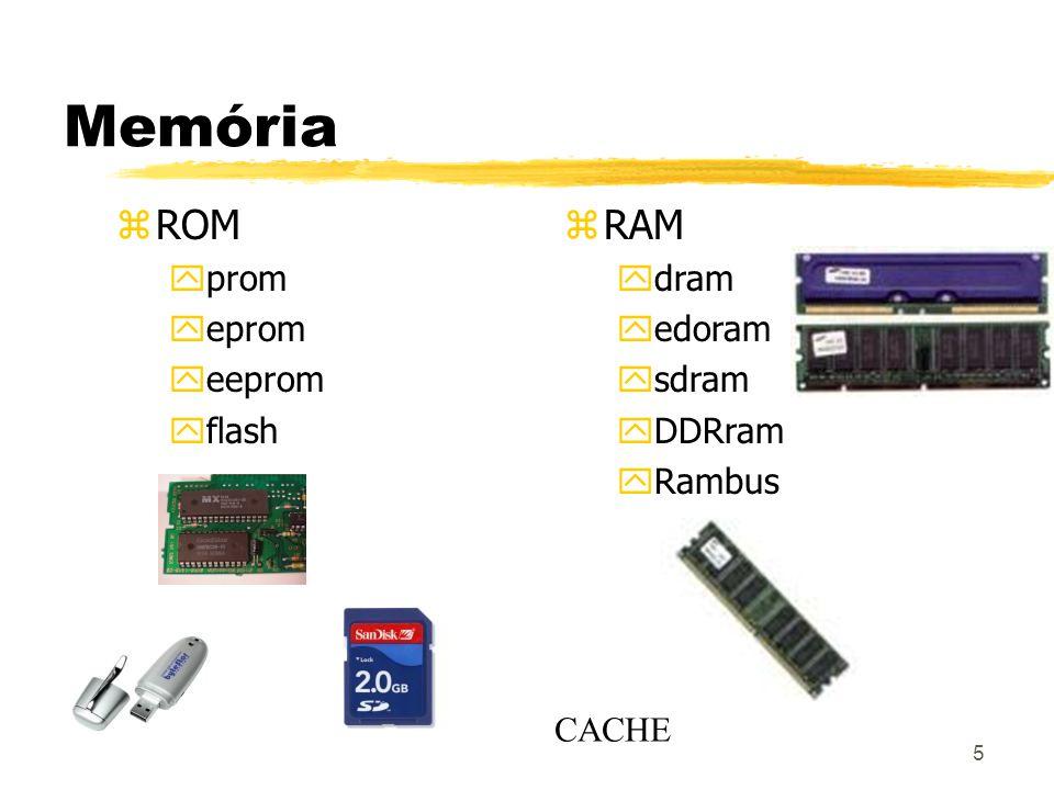 5 Memória z ROM yprom yeprom yeeprom yflash zRAM ydram yedoram ysdram yDDRram yRambus CACHE