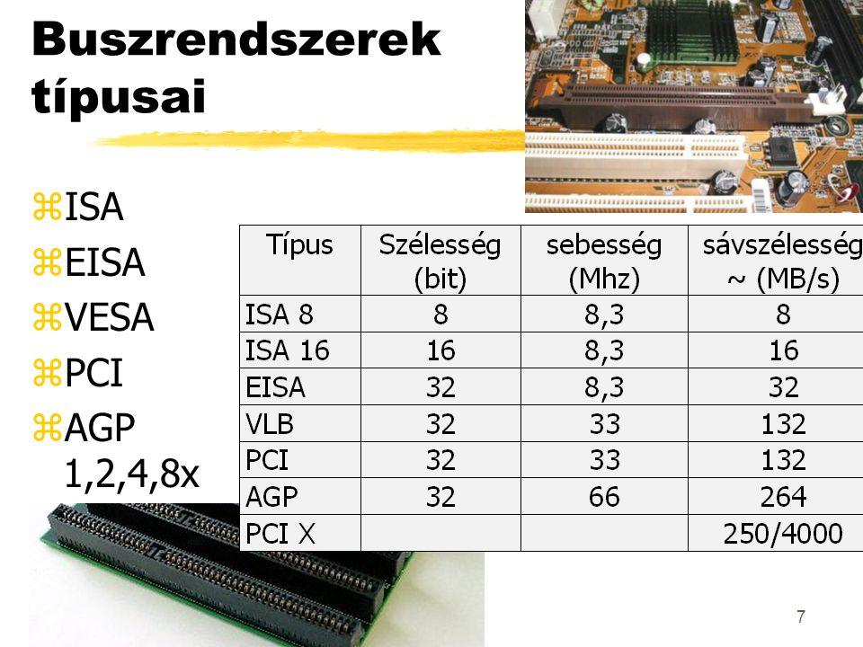 7 Buszrendszerek típusai zISA zEISA zVESA zPCI zAGP 1,2,4,8x