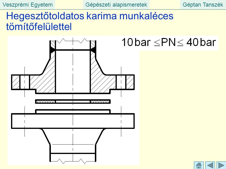 Veszprémi EgyetemGépészeti alapismeretekGéptan Tanszék Hegesztőtoldatos karima munkaléces tömítőfelülettel