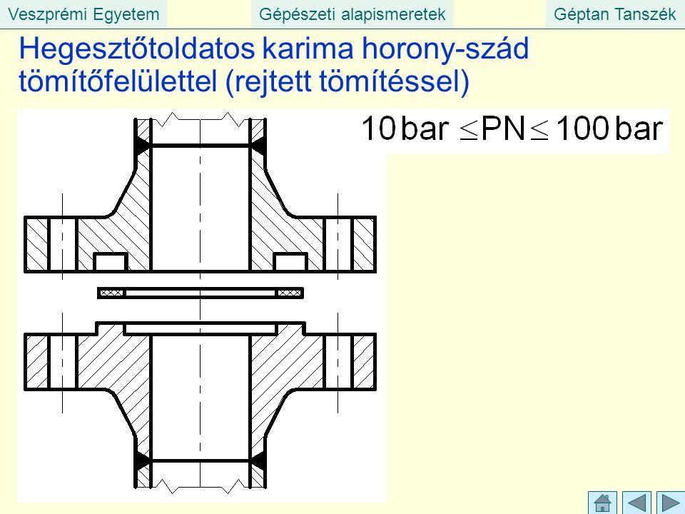 Veszprémi EgyetemGépészeti alapismeretekGéptan Tanszék Hegesztőtoldatos karima horony-szád tömítőfelülettel (rejtett tömítéssel)