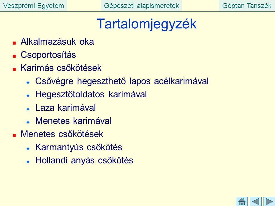 Veszprémi EgyetemGépészeti alapismeretekGéptan Tanszék Tartalomjegyzék Alkalmazásuk oka Csoportosítás Karimás csőkötések Csővégre hegeszthető lapos ac