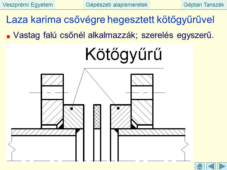 Veszprémi EgyetemGépészeti alapismeretekGéptan Tanszék Laza karima csővégre hegesztett kötőgyűrűvel Vastag falú csőnél alkalmazzák; szerelés egyszerű.