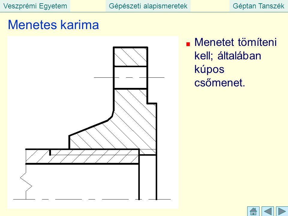 Veszprémi EgyetemGépészeti alapismeretekGéptan Tanszék Menetes karima Menetet tömíteni kell; általában kúpos csőmenet.