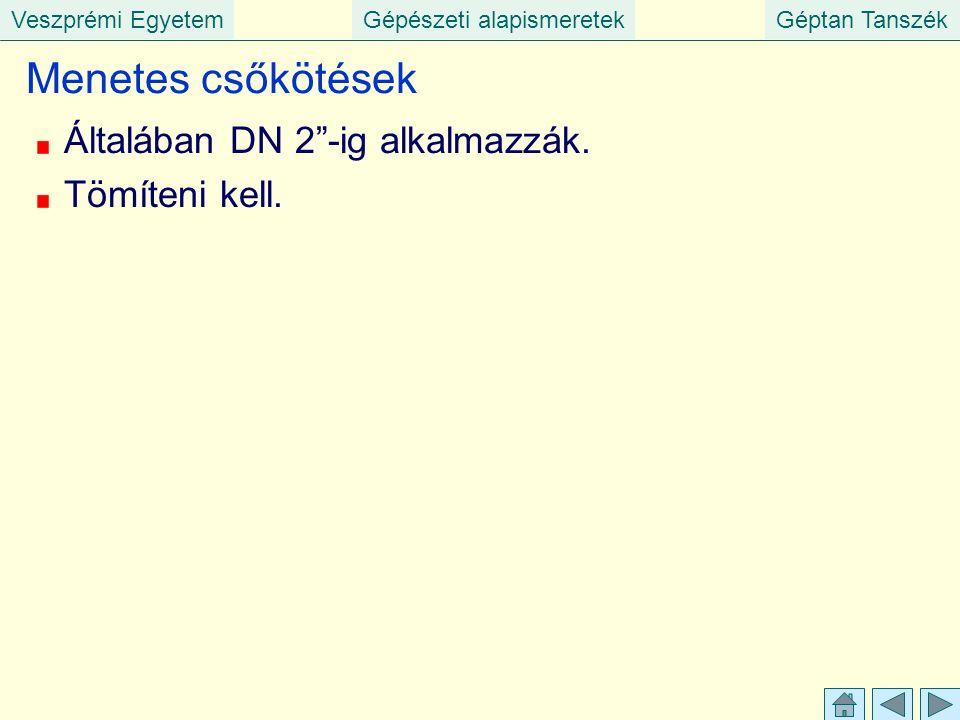 """Veszprémi EgyetemGépészeti alapismeretekGéptan Tanszék Menetes csőkötések Általában DN 2""""-ig alkalmazzák. Tömíteni kell."""