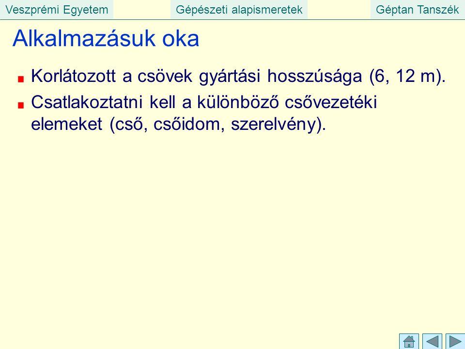 Veszprémi EgyetemGépészeti alapismeretekGéptan Tanszék Alkalmazásuk oka Korlátozott a csövek gyártási hosszúsága (6, 12 m). Csatlakoztatni kell a külö