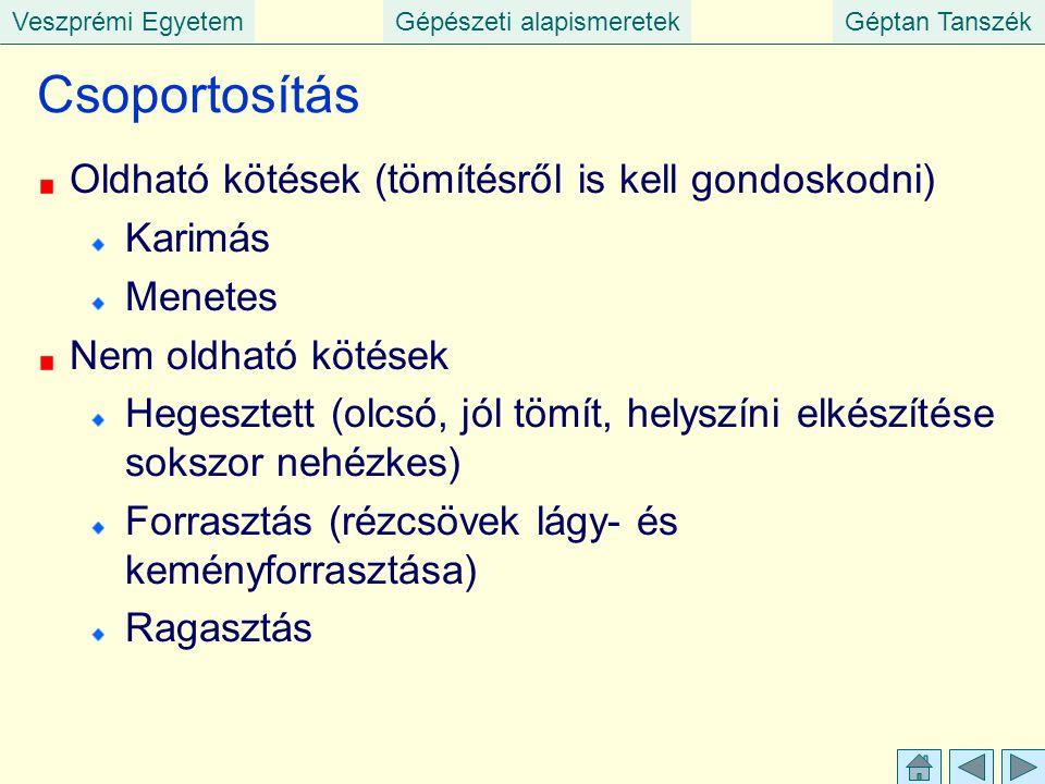 Veszprémi EgyetemGépészeti alapismeretekGéptan Tanszék Csoportosítás Oldható kötések (tömítésről is kell gondoskodni) Karimás Menetes Nem oldható köté