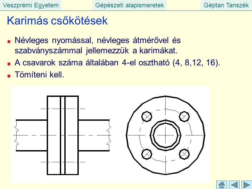 Veszprémi EgyetemGépészeti alapismeretekGéptan Tanszék Karimás csőkötések Névleges nyomással, névleges átmérővel és szabványszámmal jellemezzük a kari